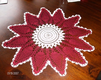 Red Pineapple- Stitch Doily