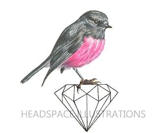 Pink Robin Bird on Black Geometric Diamond Nursery Little Girls Room Baby Colored Pencil Art Print by Headspace Illustrations