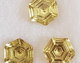 3 Pieces of GREEN GOLD HEXAGON Facetted Conclave Cut