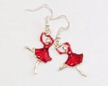 Red ballerina earrings - dancer earrings - Recital gift - Recital earrings