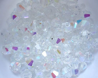 100 Crystal Glass Bicone Beads -  Clear White AB - 4mm