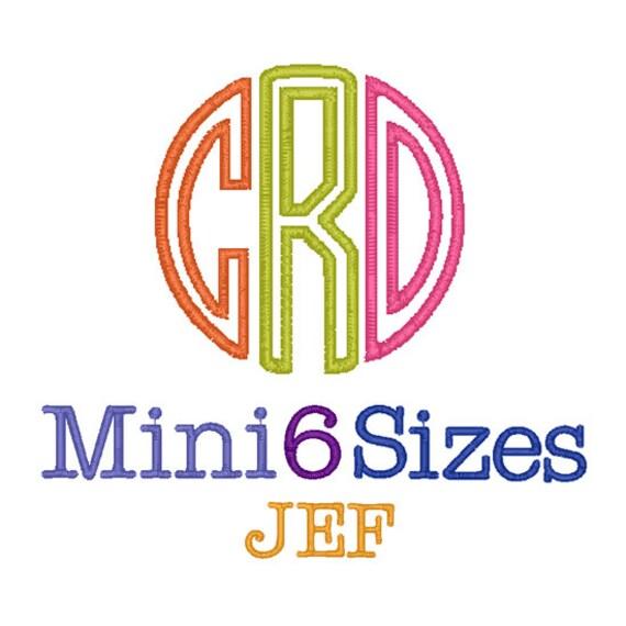 Mini circle monogram appilque font sizes fonts