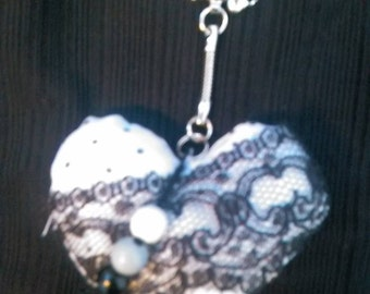 Keychain heart fabric and lace