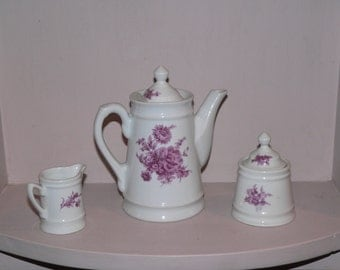 Tea Pot, Creamer and Sugar Bowl