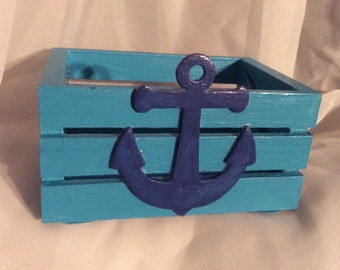 Turquoise Blue Nautical Mini Crate with Anchor & Sharks