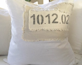 Custom Date Linen Pillow Cover, Linen Patch
