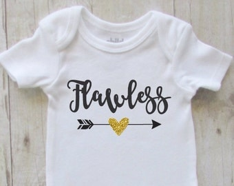 Christmas gift for baby - Baby shower ideas - baby girl clothes - flawless - baby girl bodysuit - bring home baby girl - flawless baby girl