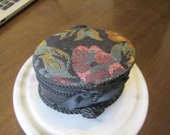 Trinket box black trinket box oval satin ribbon tapestry brocade black jewelry box vintage 90s jewelry storage gift.