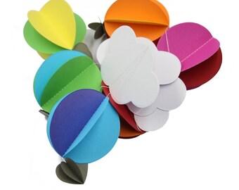 Bright Nursery Paper Garland / 3D Hot Air Balloon Decoration/Children Birthday Decor  Photo Prop