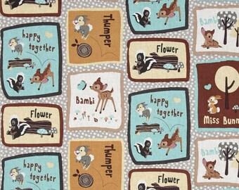 "Disney Fabric - Bambi Fabric - Bambi & Friends Patch 100% cotton fabric 43"" wide, SC11"