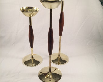 Set of 3 Mid Century Modern Candle Holders