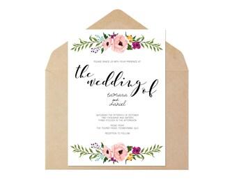 Printable Wedding Invitation - Floral Details - Customised