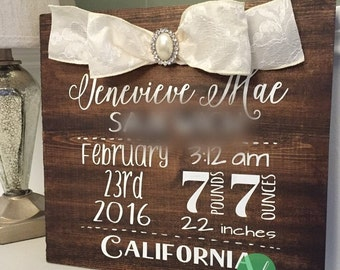 Personalized Baby Birth Board