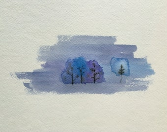 """Cold Winter - Original 9""""x12"""" Cool Abstract Landscape Watercolor Painting - Good Birthday Present"""