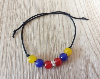 Tricolor Friendship  Bracelet. Inspired by Colors of National Flag. Colombia, Venezuela