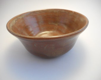 Small Brown Stoneware Ceramic Bowl, Handmade Pottery, Hand Thrown, Hand Painted, Kitchenware, Home Decor (B0034)