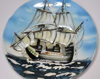 Sailing Ship Wall Hanging Plate Vintage