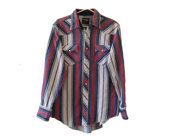 Red White Blue Striped Vintage Mens Wrangler Shirt • Long Sleeve Button Down Western Shirt with Pearl Snaps