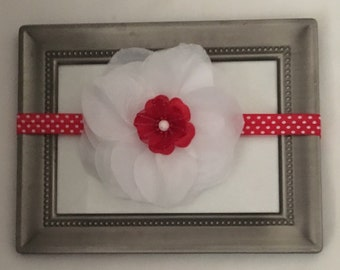 Shabby Chic White Petals Infant Headband with Flower Accent