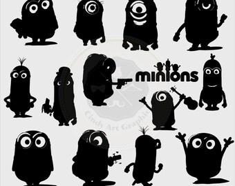 Minion Silhouettes Clipart,minion,minion clipart,silhouettes clipart,digital download