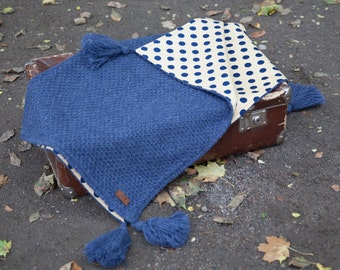 Jeans bln + GIFT/ Wool baby blanket / Newborn blanket / Knit baby blanket / Baby wrap / Summer baby blanket / Two side blanket/ Newborn gift