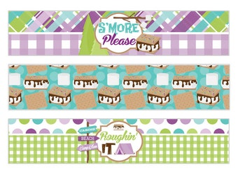 Glam Camper Digital Girls Birthday Party Printable Camping Water Bottle Wrapper Labels INSTANT DOWNLOAD