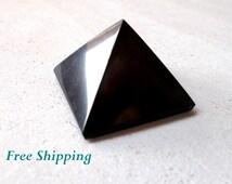Shungite Pyramid, Healing Crystal Pyramid, EMF Protection Stones, Meditation, Reiki, Feng Shui Decor, Grounding Stone, Positive Energy