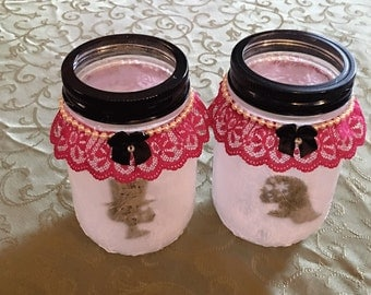 Set of two Day of the Dead Bride and Groom Light up Jars
