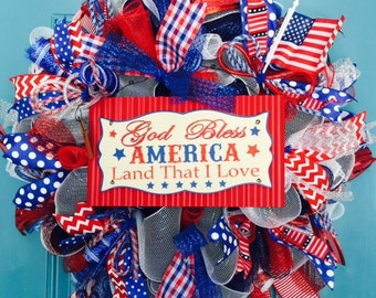 Patriotic Deco Mesh Deluxe God Bless America wreath-READY TO SHIP