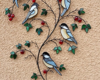 Stained glass  birds on a branch