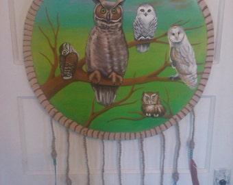 Hand painted wooden owl dreamcatcher