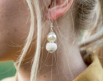 Elegant Ivory Crochet Earrings