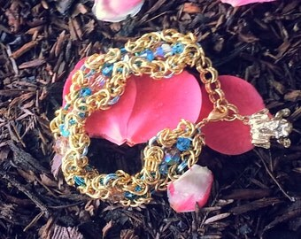 chainmail swarvorski crystal frog prince bracelet