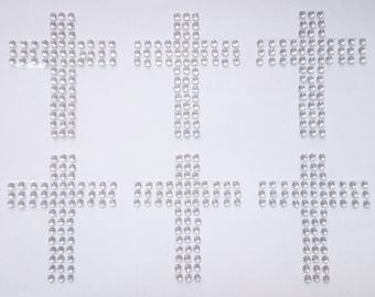 Self Adhesive 3.5cm Diamante Cross Stickers x 6 Pack