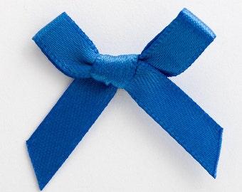 Satin Ribbon Pre Tied 3cm Bows - 100 Pack - Royal Blue