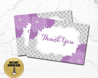 Printable Thank You Cards, Thank You Notes, Purple and Grey, Purple and Gray, Lavender, Floral, Thank You's, Printable, AB06
