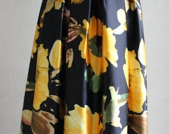 Black with bold yellow floral Print Silky Maxi skirt/ NICOLE SKIRT
