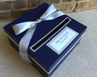 Navy Blue and Silver Wedding Card Box, Shower Centerpiece, 1 Tier Card Holder