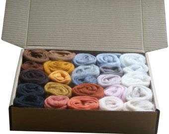 Ultimate Animal Colours Merino Wool Box, 25 Colours very soft Needle felting wool - roving - felting - spinning - kit
