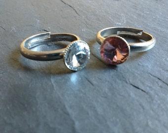 Striking swarovski gem rings