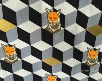 Big laminated and zippered pouch with pocket: Echino gold foxes