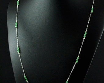 Natural Aventurine and sterling silver necklace