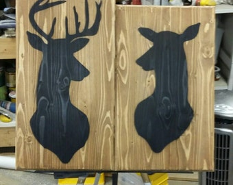 His and hers deer silhouette