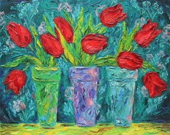 Original oil painting on canvas.Wall decor.Tulips-FREE SHIPPING