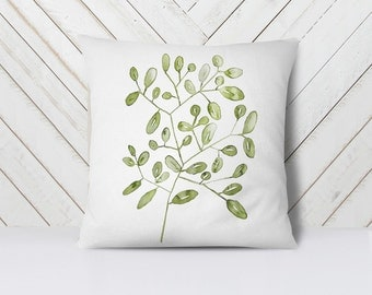 Botanical Throw Pillow // plant art botanical illustrations throw pillow, green pillow covers 18x18, decorative pillow, leaf plant decor