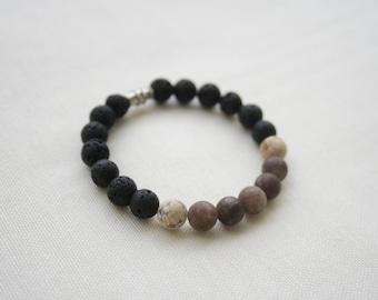 Natural Gemstone Bracelet - Jasper, Jade, Lava Stone - Kirke: #A7