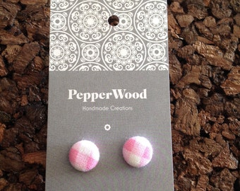 Pink and white tartan 12mm fabric earrings
