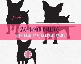 Dog svg files French Bulldog Svg Dog Silhouette Svg Monogram Frames Dogs Svg Animal Svg Monogram Svg Dog Silhouette Silhouette Cricut