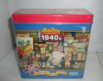 Memories of the 1940s Shopping Basket Jigsaw in tin