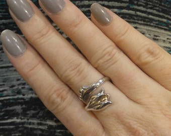 Sterling Silver Reproduction Art Nouveau Adjustible Flower Ring